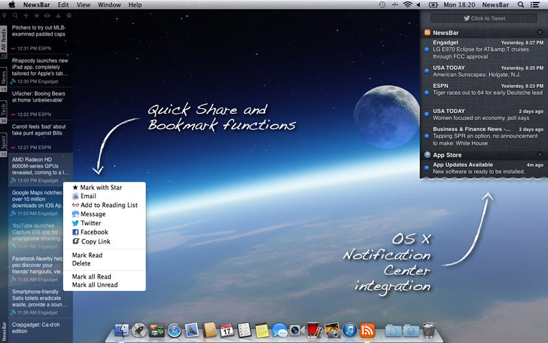 NewsBar for Mac OS X