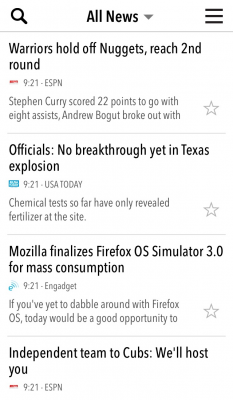 NewsBar RSS reader for iPhone